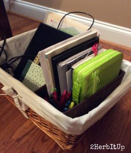 Combine your Bible and Planner basket with other planning baskets for a complete all-in-one planning station.