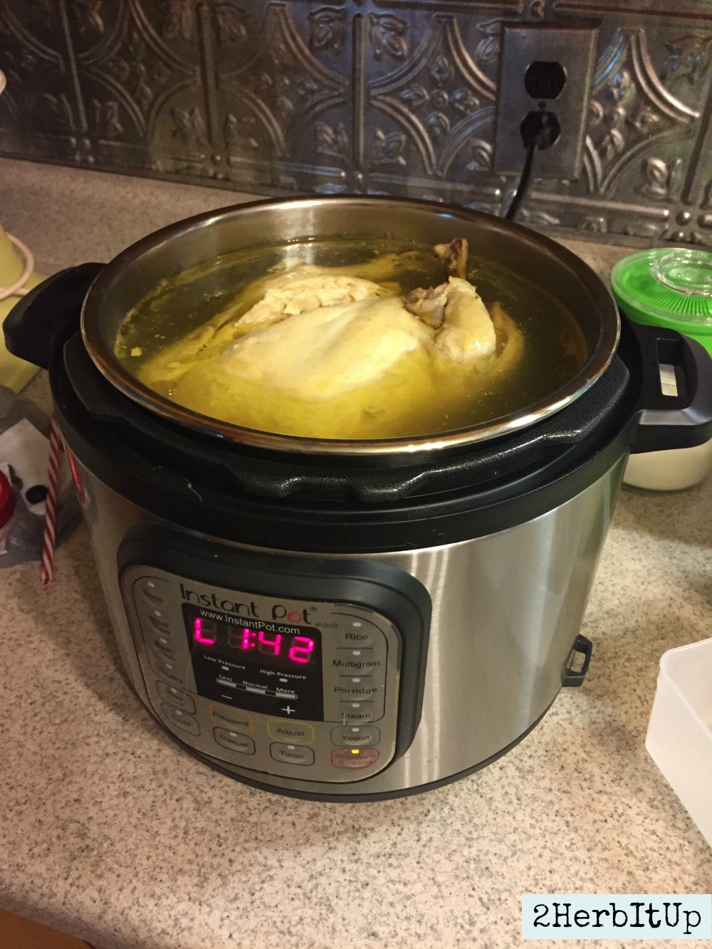 From freezer to cooked chicken and broth in an hour using the Instant Pot.