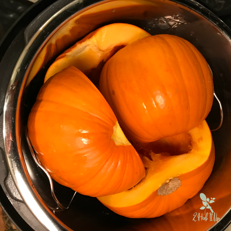 Pumpkins cooked in the Instant Pot for pumpkin puree.