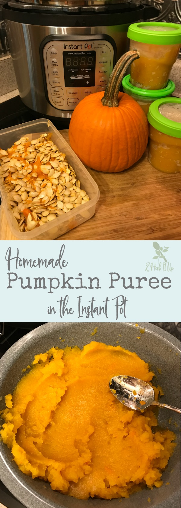 Homemade pumpkin puree in the Instant Pot.  The Instant Pot makes homemade pumpkin puree super quick and easy.