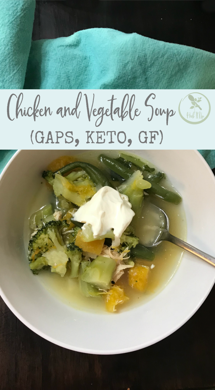 This chicken and vegetable soup is gluten free, GAPS and Keto friendly and tastes amazing!