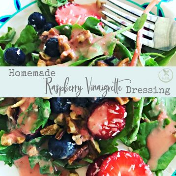 Top your salad with this homemade raspberry vinaigrette to add nutrition and taste.