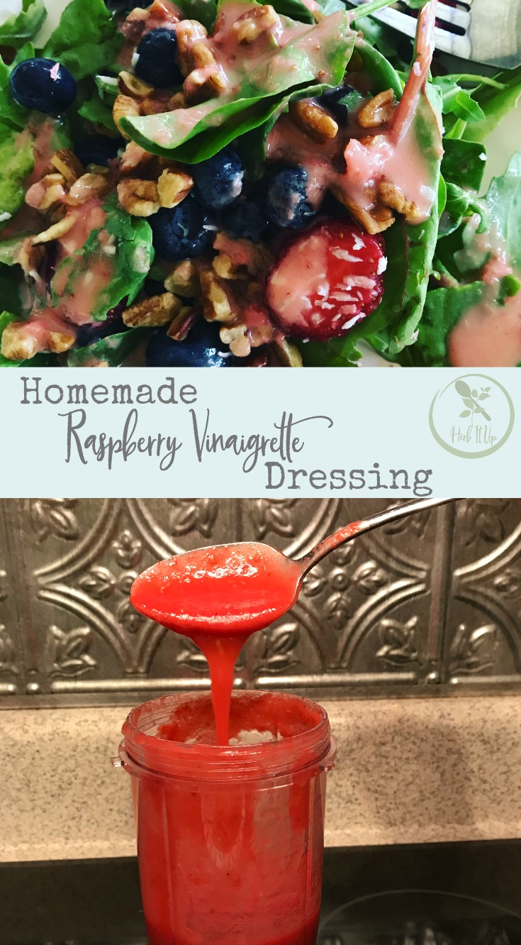 Top your salad with this homemade raspberry vinaigrette dressing to add nutrition and taste.